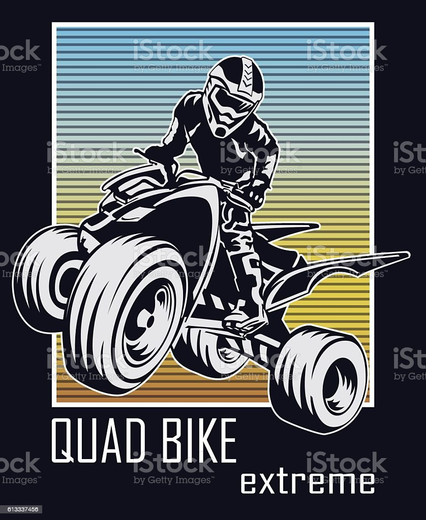 Quad bike extreme vector art illustration
