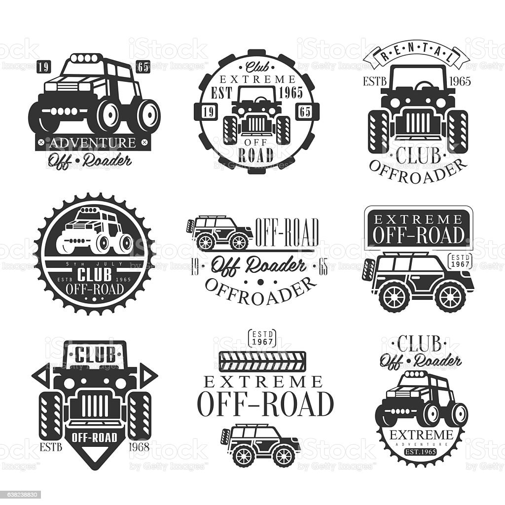 Quad Bike Rental Club Set Of Emblems With Black And vector art illustration