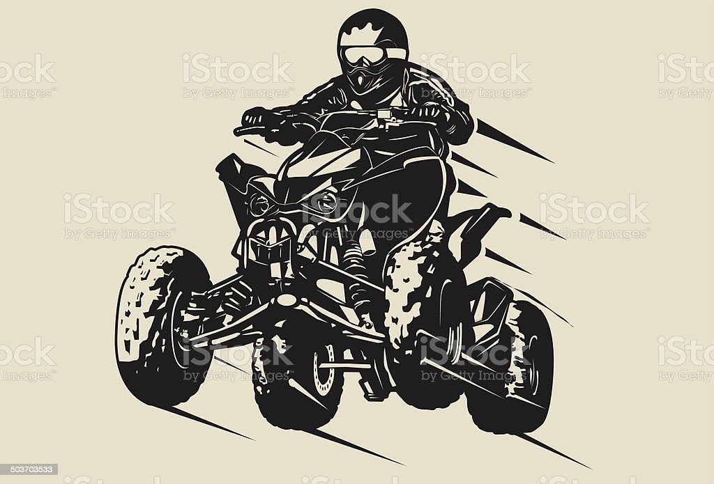 Quad jumping vector art illustration