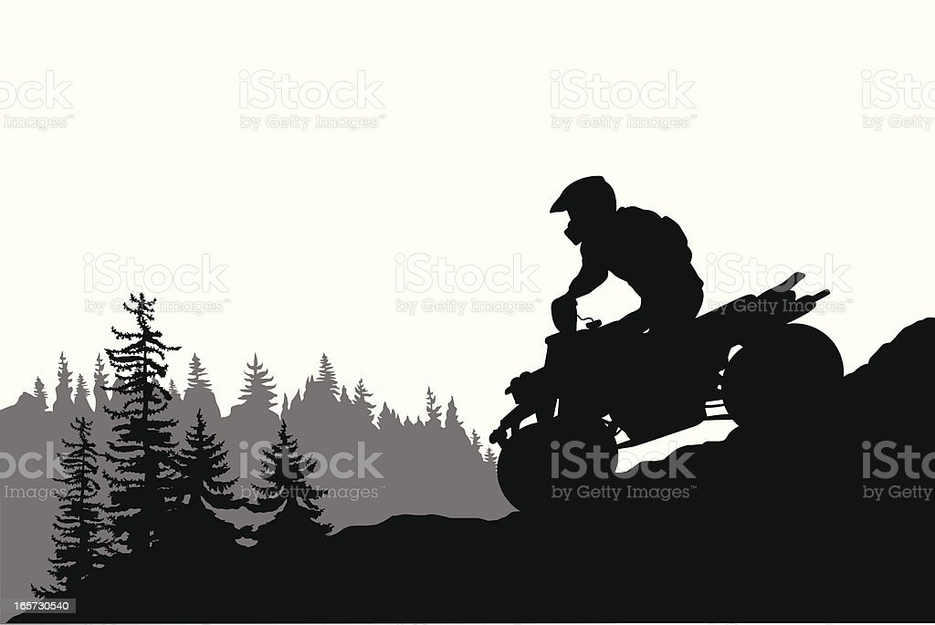 Quad Motors Vector Silhouette vector art illustration