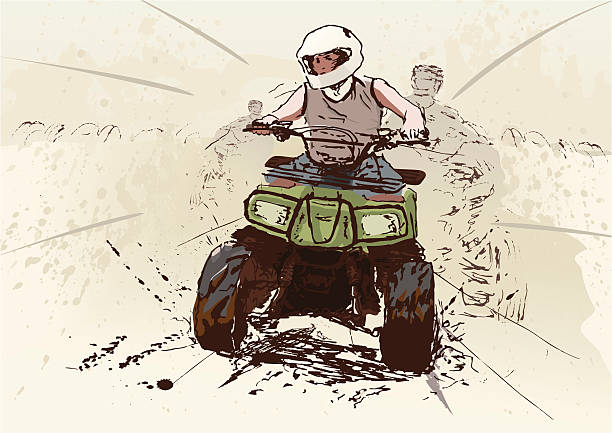 Quad race on dirt track. Hand drawn illustration of quadbike racer winning the race. (objects separated on layers) quadbike stock illustrations