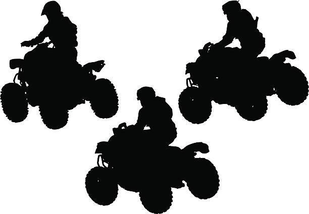 Silhouettes quad Silhouettes athletes on quad on white background quadbike stock illustrations