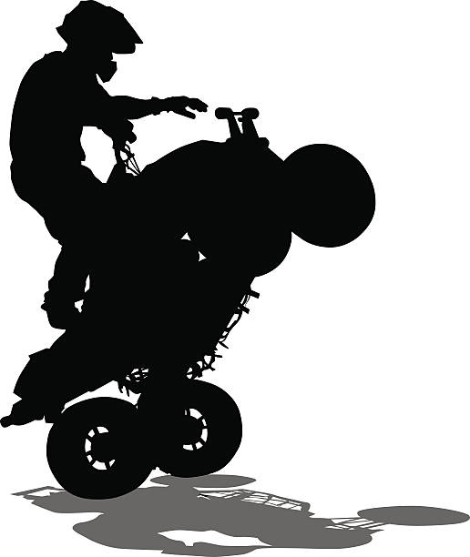 Quad sports races Silhouettes athletes ATV during races on white background quadbike stock illustrations