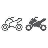 Quadbike line and glyph icon, bike and extreme, ATV motorcycle sign, vector graphics, a linear pattern on a white background, eps 10.