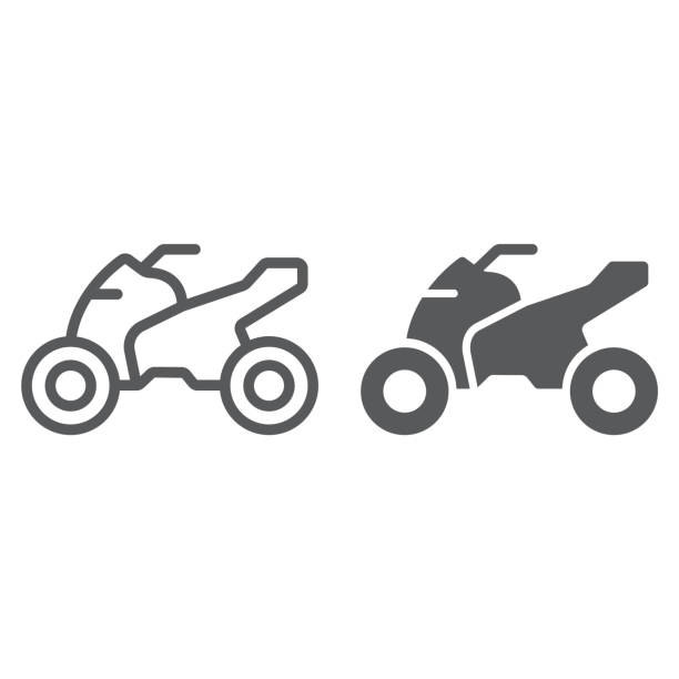 Quadbike line and glyph icon, bike and extreme, ATV motorcycle sign, vector graphics, a linear pattern on a white background. Quadbike line and glyph icon, bike and extreme, ATV motorcycle sign, vector graphics, a linear pattern on a white background, eps 10. quadbike stock illustrations