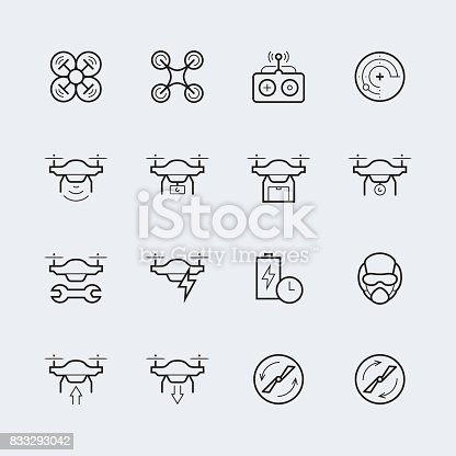 Quadcopter And Flying Drone Icons In Thin Line Style Stock