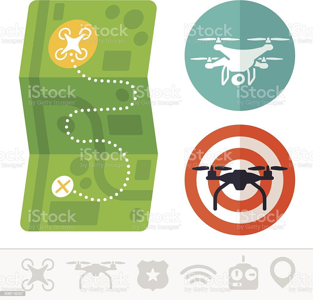 Quadcopter Drone Symbols vector art illustration