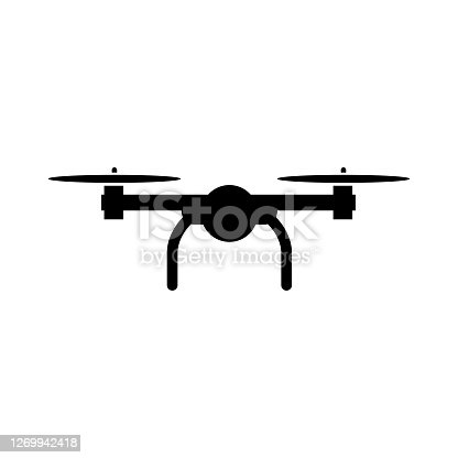 istock Quadcopter icon, flying drone logo isolated on white background 1269942418