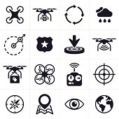 Quadcopter and drone icons and symbols.