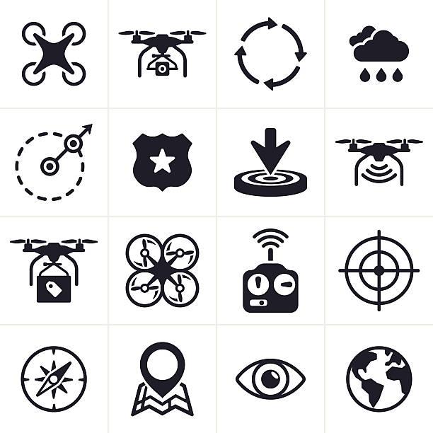 stockillustraties, clipart, cartoons en iconen met quadcopter icons and symbols - gopro