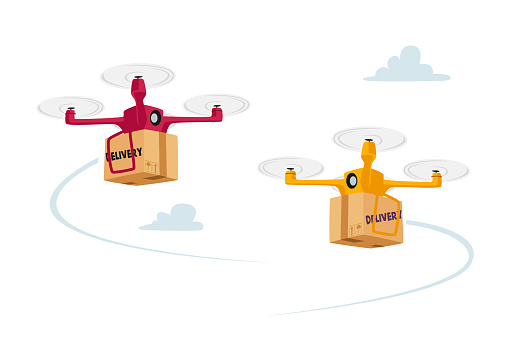 Quadcopter Remote Freight Shipping, Business Air Transportation. Goods Shipment Concept. Drones Delivery Boxes
