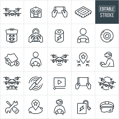 Quadcopter Thin Line Icons - Editable Stroke