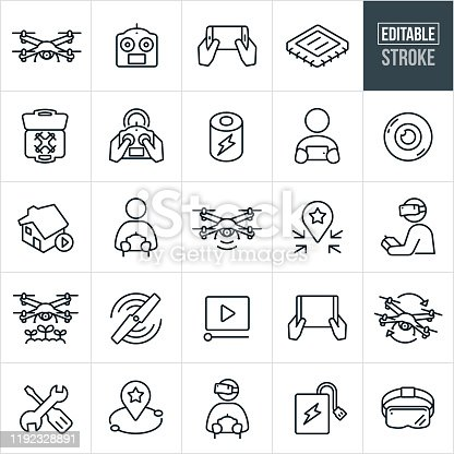 A set of quadcopter and drone icons that include editable strokes or outlines using the EPS vector file. The icons include a drone, quadcopter, remote controller, mobile device, computer chip, accessories, person flying drone, person using a remote, battery, camera lens, drone video, headset, drones for agriculture, drones for real estate, rotor, repair and other related icons.
