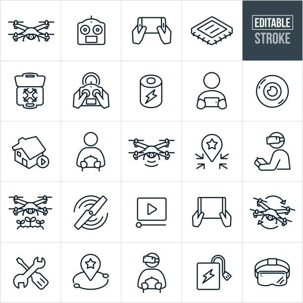 ilustrações de stock, clip art, desenhos animados e ícones de quadcopter thin line icons - editable stroke - drone