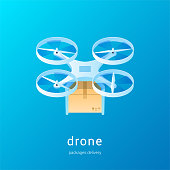 Drone delivery concept. Quadcopter with the package. Isometric vector illustration