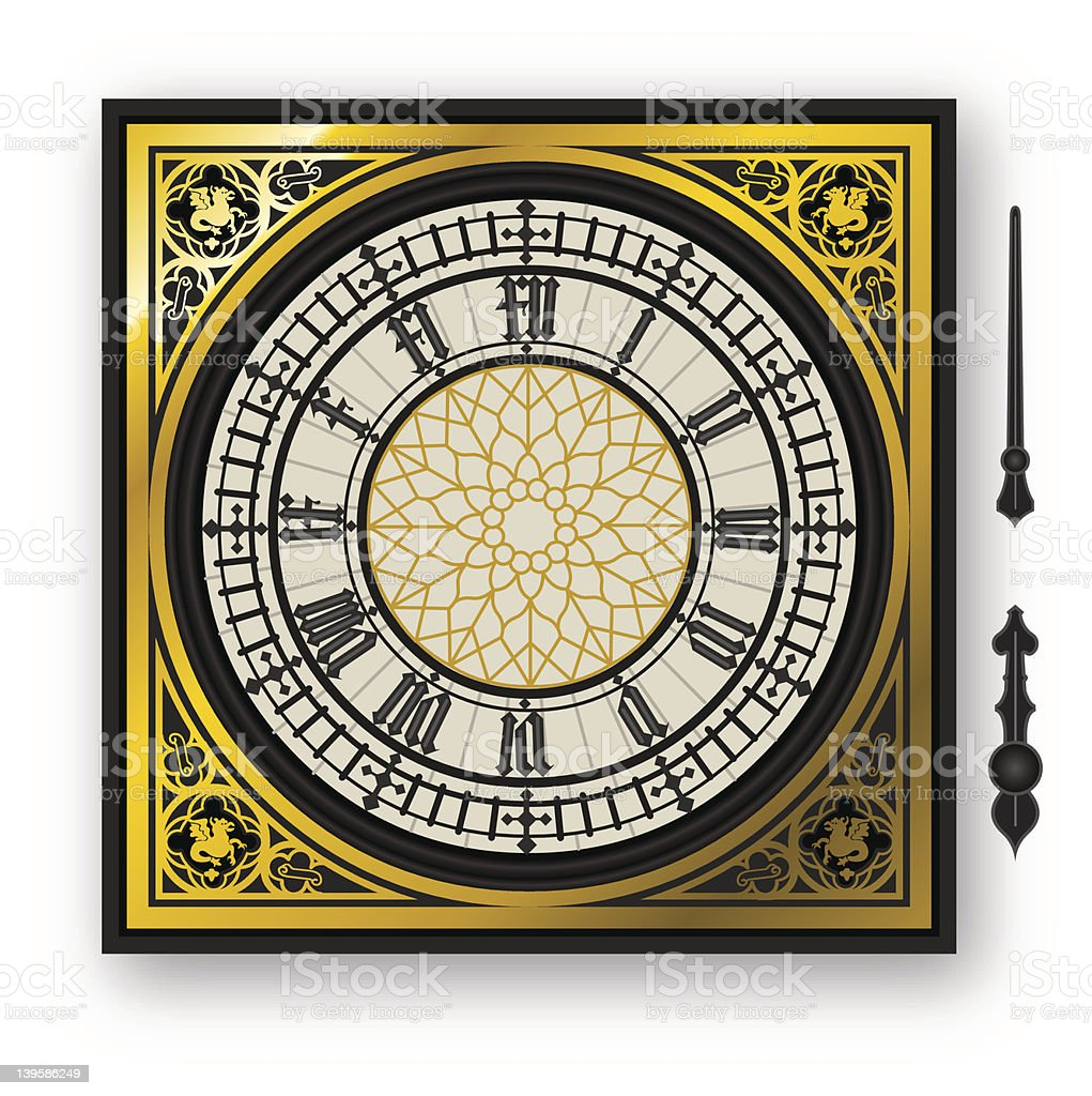 quadrant of victorian clock with lancets vector art illustration
