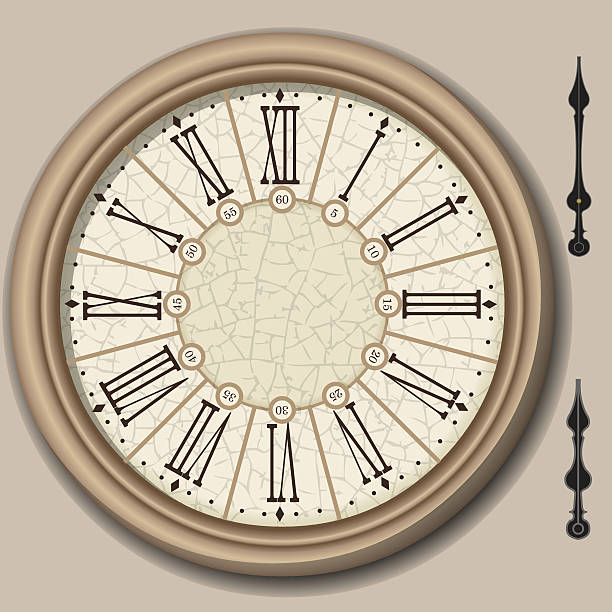 Quadrant of Victorian Clock with Lancets vector art illustration
