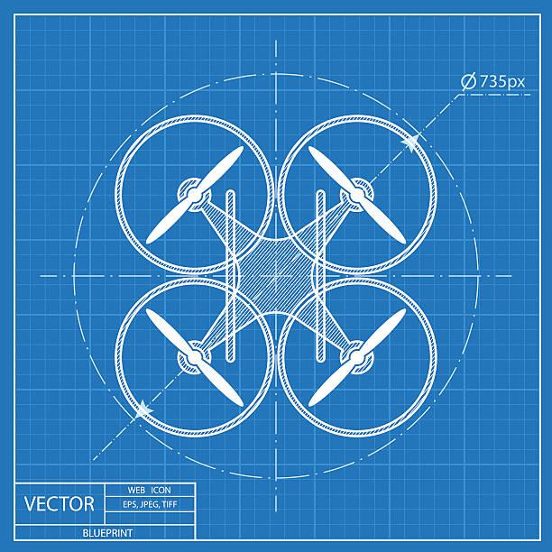 ilustrações de stock, clip art, desenhos animados e ícones de quadrocopter monótona vector ícone de projecto - drone