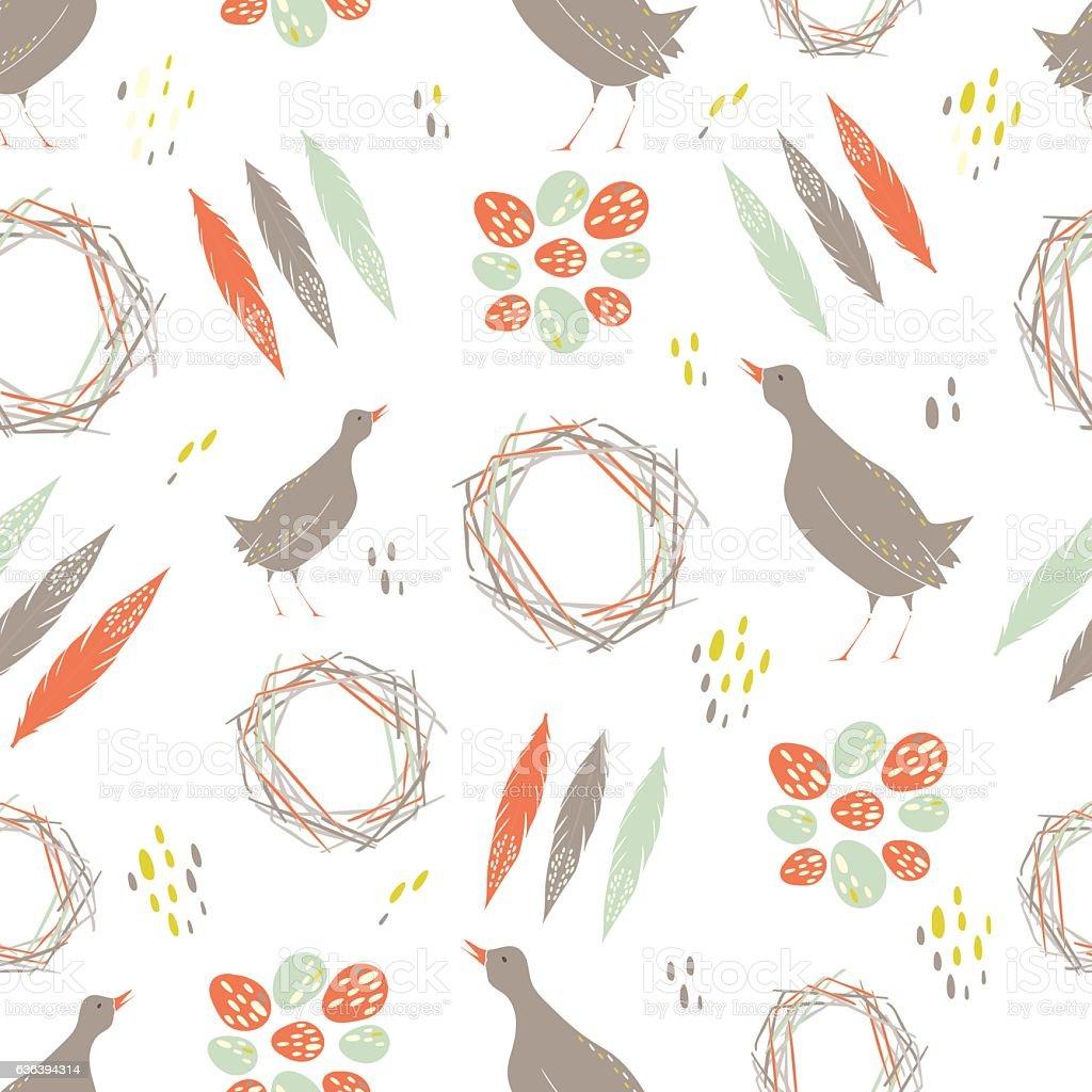 Quail seamless pattern. vector art illustration