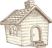 Illustration of a small, simple wooden cottage done in an old-school style. Reminiscent of traditional farmhouses.