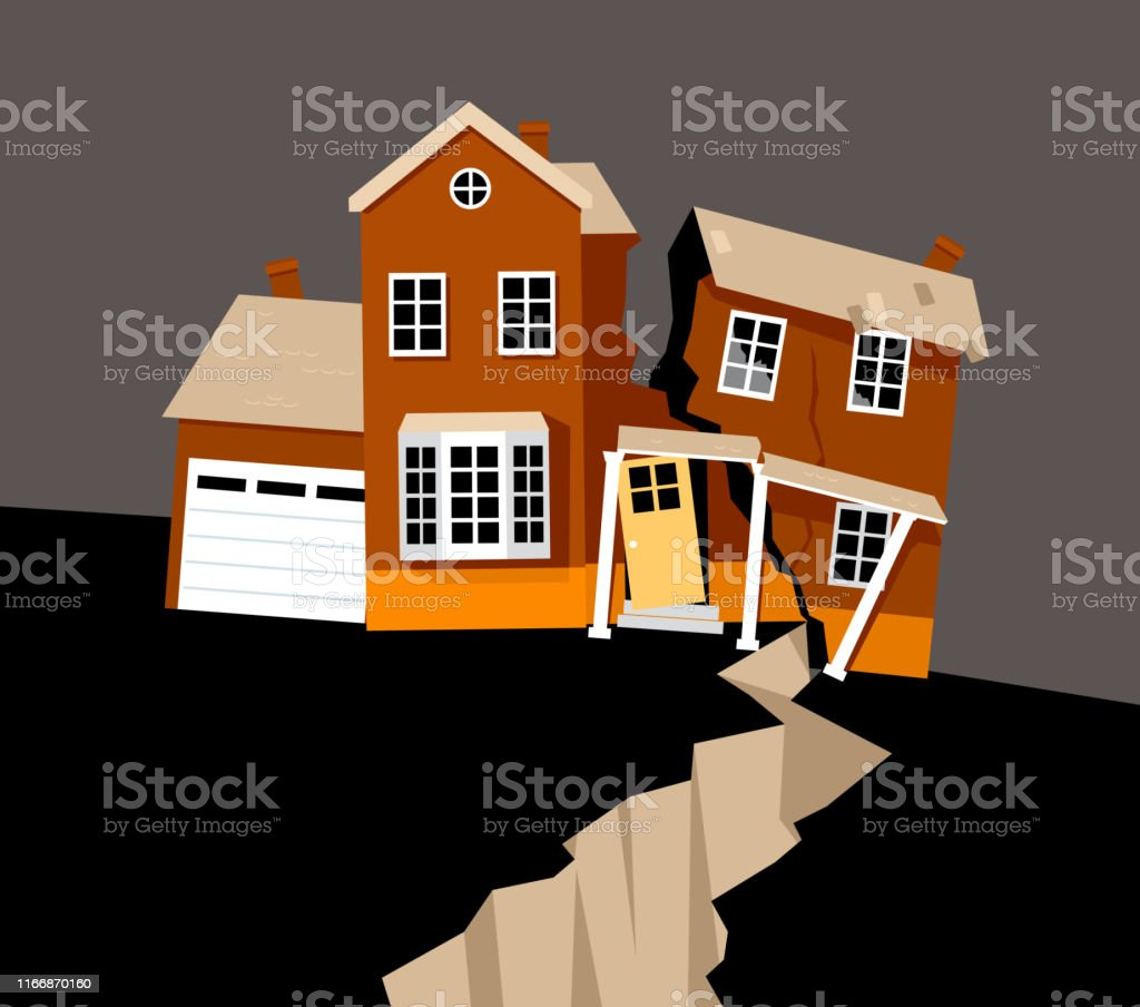 A house severely damaged in earthquake, EPS 8 vector illustration