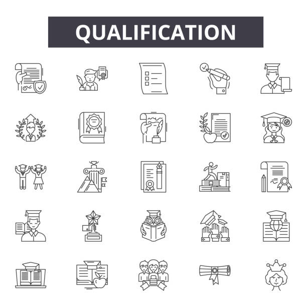 Qualification line icons, signs, vector set, linear concept, outline illustration Qualification line icons, signs, vector set, outline concept linear illustration qualification round stock illustrations