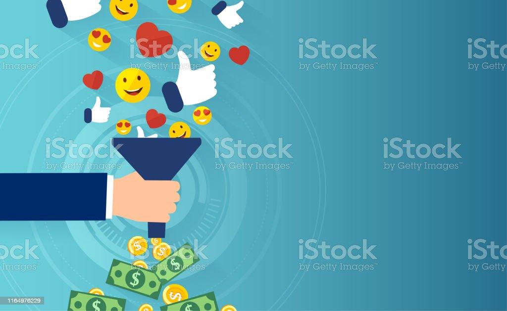 Kvalificerat leads-koncept. Vektor av sociala medier tratt - Royaltyfri Affärsstrategi vektorgrafik