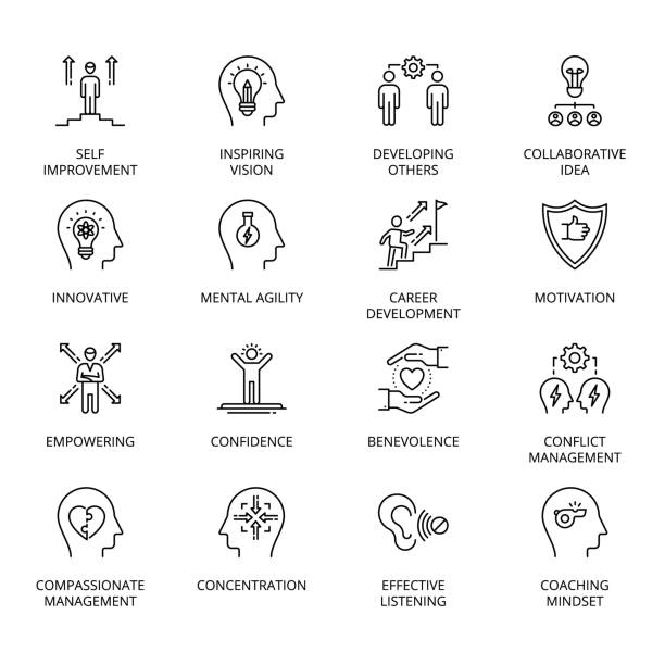 Qualities of A Leader and skills conceptual icons Qualities of A Leader and skills conceptual icons, fully editable - vector confidence stock illustrations