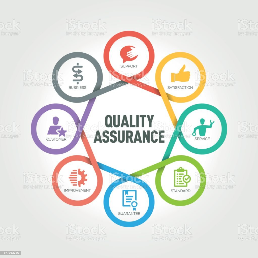 Quality Assurance infographic with 8 steps, parts, options vector art illustration