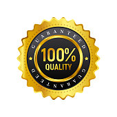 Vector Golden Icon with 100% Quality Guaranteed. Business symbol on white background