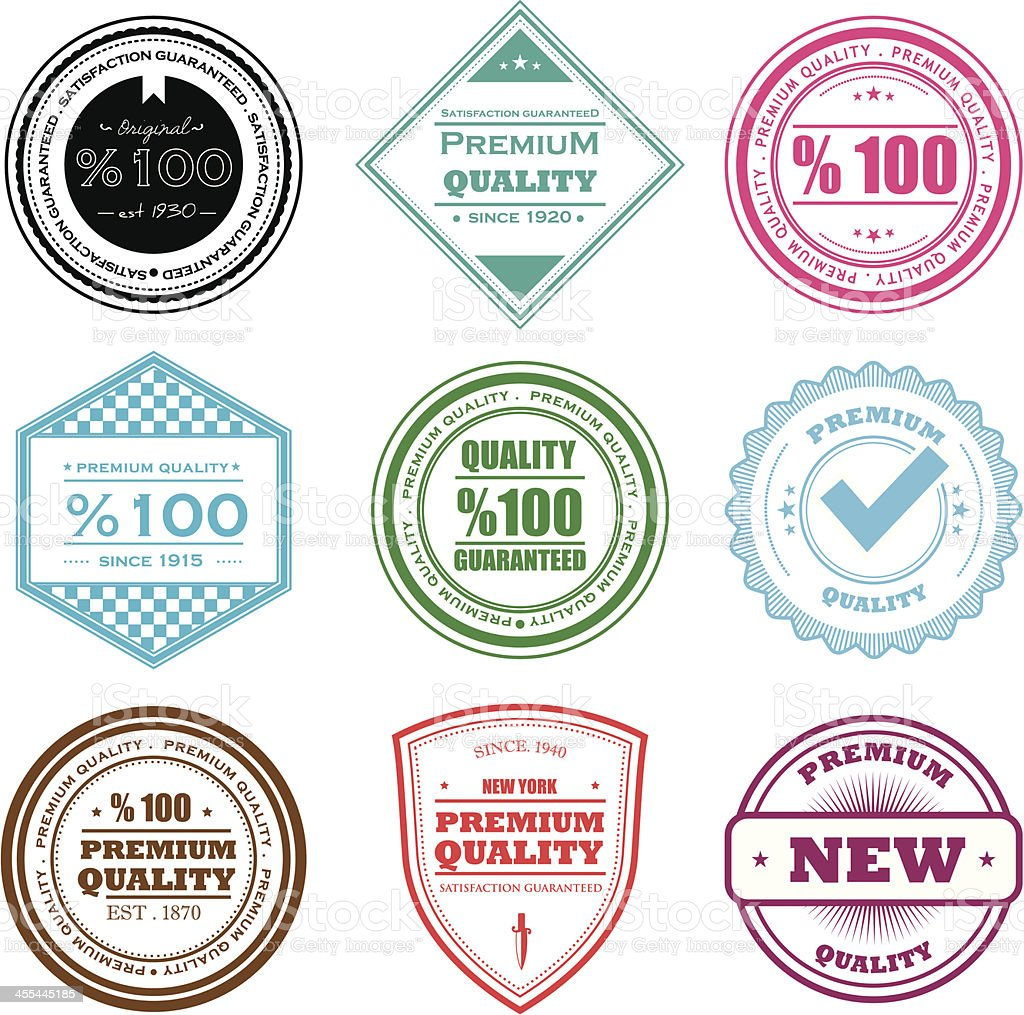 Quality badges royalty-free quality badges stock vector art & more images of accuracy