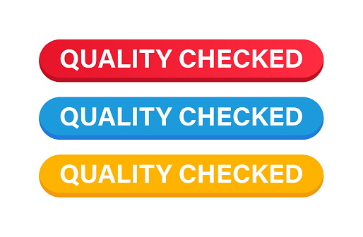 Quality Checked Button Color Set. Vector Stock Illustration