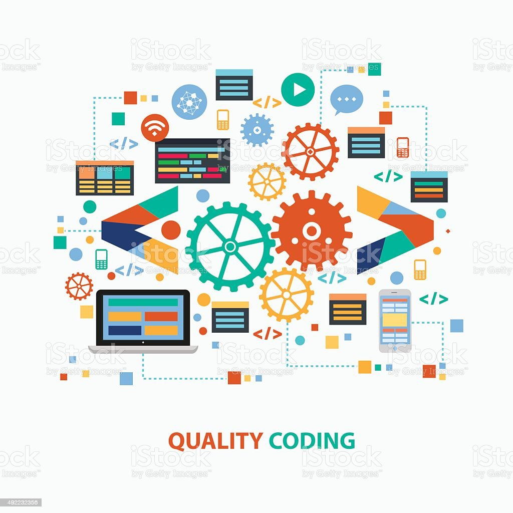 Quality coding concept design,clean vector vector art illustration