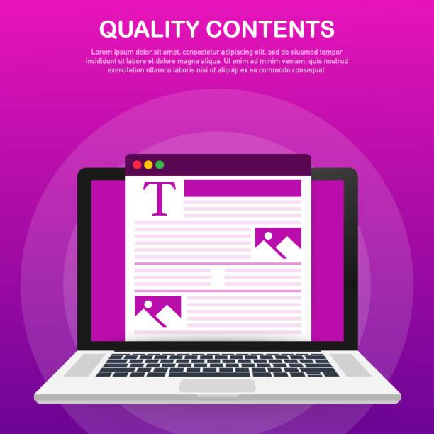 stockillustraties, clipart, cartoons en iconen met kwaliteitsinhoud. blogger karakter. seo optimalisatie. inhoud voor creatieve blogpost. vectorillustratie. - bloggen