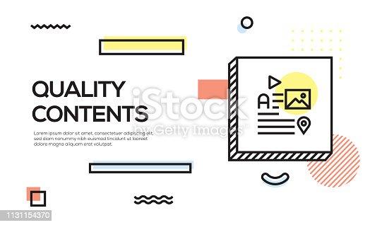 Quality Contents Concept. Geometric Retro Style Banner and Poster Concept with Quality Contents icon