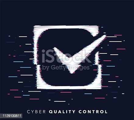 Glitch effect vector icon illustration of quality control with abstract background.