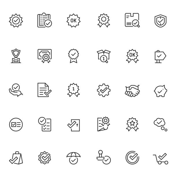 quality control icon set - obsługa stock illustrations