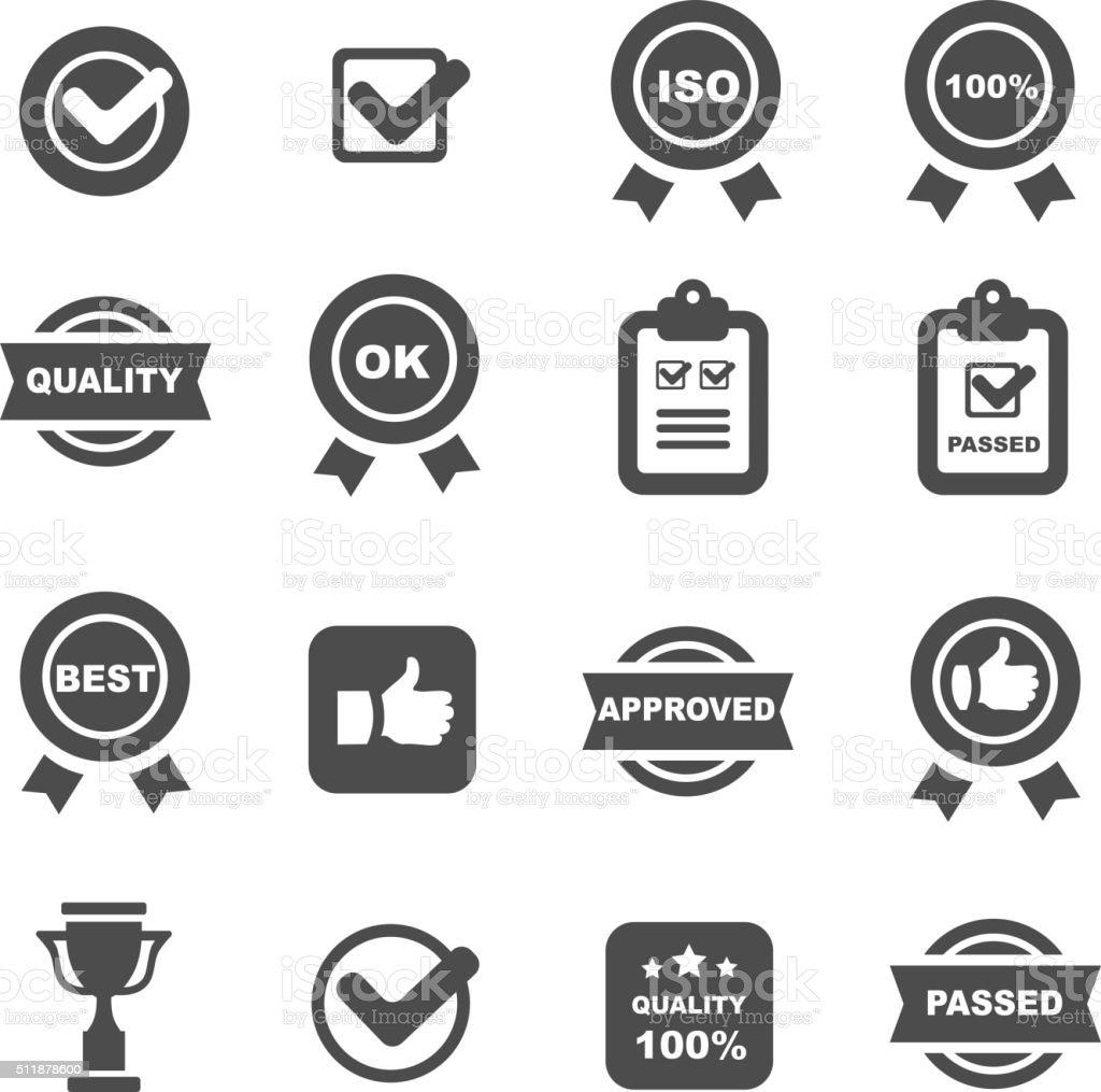 Controllo di qualità icone insieme, vettoriale simboli - illustrazione arte vettoriale
