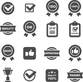 quality control icons set,  vector symbols