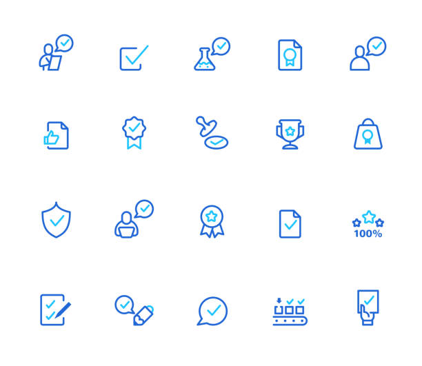 Quality control icons. vector art illustration