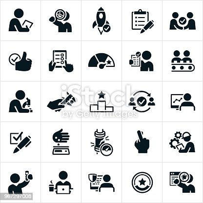 A set of quality control or quality assurance icons. The icons include testing, analyzing, checking, debugging, checklist and other processes used to check for quality.