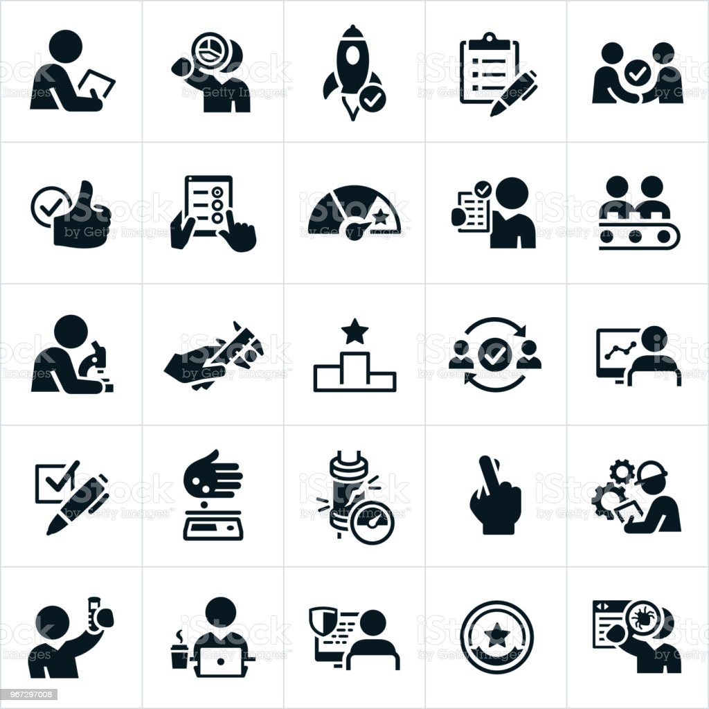 Quality Control Icons vector art illustration