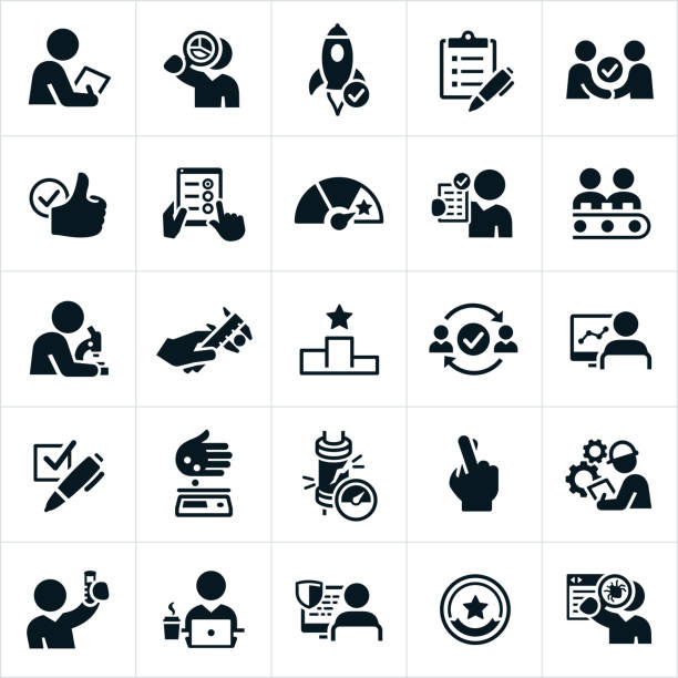 Quality Control Icons A set of quality control or quality assurance icons. The icons include testing, analyzing, checking, debugging, checklist and other processes used to check for quality. for sale stock illustrations