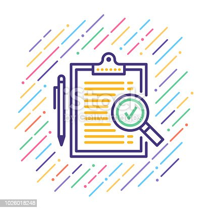 Line vector icon illustration of analyzing results.