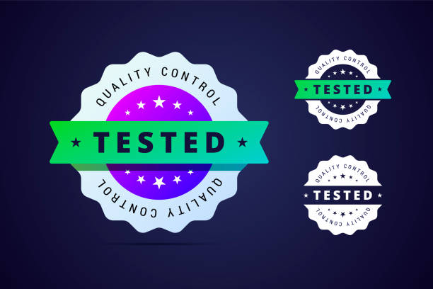 Quality control, tested stamp for product or software. vector art illustration