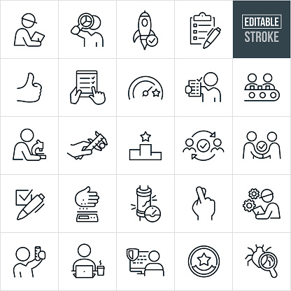 A set of quality control icons that include editable strokes or outlines using the EPS vector file. The icons include engineers and inspectors performing quality control measures, an inspector with notepad and pen while wearing a hardhat, worker holding magnifying glass while viewing pie chart, a rocket ship approved to launch, checklist, thumbs up, quality check, goal gauge, assembly line, conveyor belt, working class working, scientist using microscope, measuring caliper, scale, stress test, fingers crossed, engineer with cogs, scientist with test tube, worker at computer, computer bug and other related quality control icons.