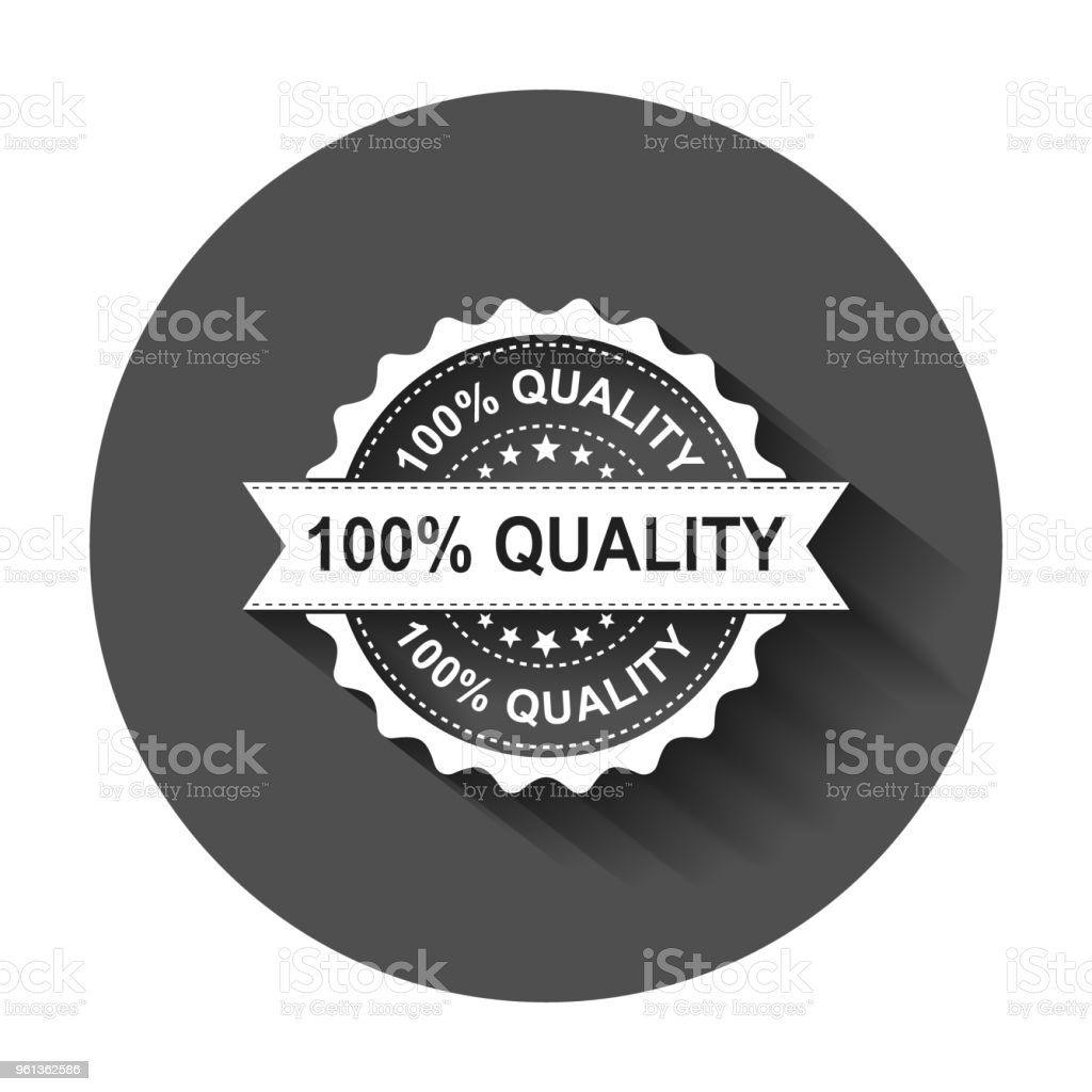 100% quality grunge rubber stamp. Vector illustration with long shadow. Business concept 100 percent quality stamp pictogram.