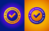 Quality guarantee label, round stamp for high quality products, vector illustration