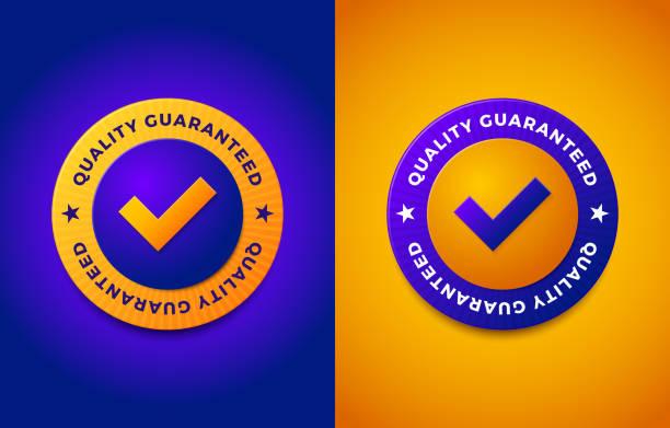 illustrazioni stock, clip art, cartoni animati e icone di tendenza di quality guarantee label, round stamp for high quality products - sigillo timbro