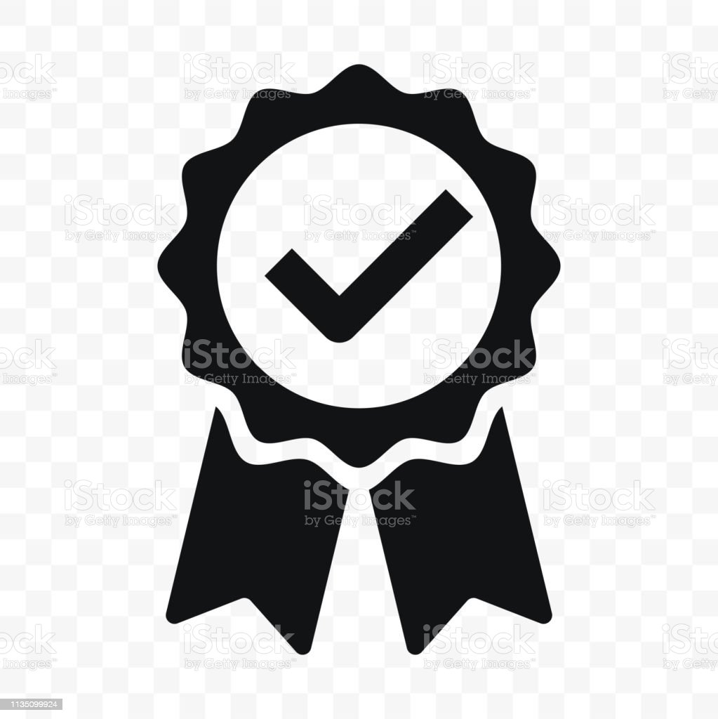 Quality icon, certified check mark ribbon label. Vector premium product certified or best choice recommended award and warranty approved certificate stamp - Grafika wektorowa royalty-free (Aprobować)